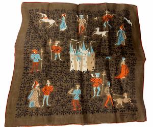 Vintage Tammis Keefe Castle Princess Hanky Handkerchief Hankie Brown Orange