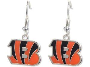 Cincinnati Bengals Football NFL Team Logo Charm Silver Dangle Earrings Set