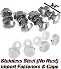 STAINLESS STEEL LICENSE PLATE FASTENERS FRAME/COVER METAL SCREW/BOLT CHROME CAPS