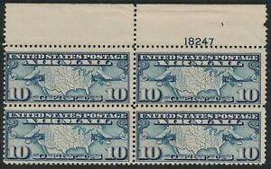 Scott C7- MNH Plate # Block of 4- 10c Map and Mail Planes- 1926 Airmail, unused