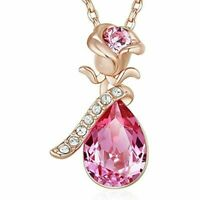 Rose Pendant necklace Swarovski crystal Rose Gold Plated necklace for women gift