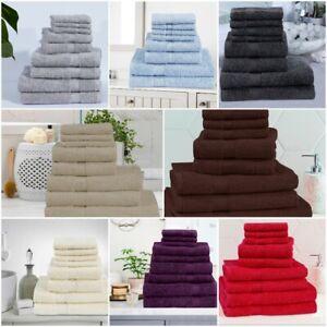 Luxury 600GSM Genuine 100% Combed Fluffy Cotton 8 pcs Towel Bale SET UK Stock