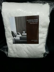 Hudson Park  Double Diamond KING Quilted Pillow shams WHITE NEW