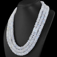 550.00 Cts Natural Round Shape Blue Flash Moonstone Beads 3 Strand Necklace