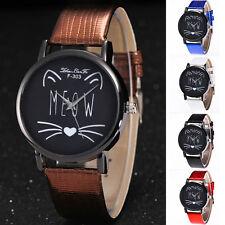 Fashion Women's Cute Cat Girl Leather Band Quartz Analg Dress Casual Wrist Watch