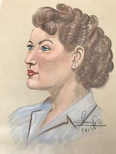 Signed Color Art Drawing Female Portrait Conte Crayon Woman Face 60s Home Decor