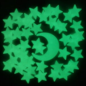 50 Glow In The Dark Stars and Moon Plastic Shapes for Ceilings & Walls Bedroom