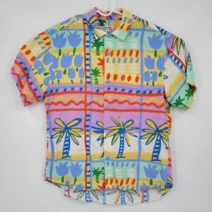 Jams World Mens Medium Bright Hawaiian Button Up Shirt Palm Floral Rare Print