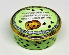 """Halcyon Days Enamel Box- """"Friends Are The Chocolate Chips In The Cookie Of Life"""""""