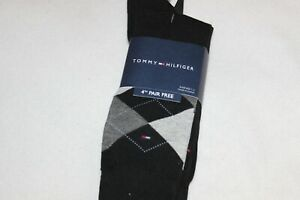Tommy Hilfiger Men's Black Argyle Combed Cotton Dress Socks 4-Pack NWT Size 7-12