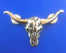 Hat Pin/Tie Tack/Lapel Pin Western Antiqued Gold Longhorn