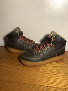 Nike Air Force 1 Mid / High Youth 653998-200 Baroque Brown Leather Size 7Y