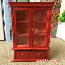 Dollhouse Miniature Wooden Red Visual Cabinet Bookcase 1:12 Scale Model