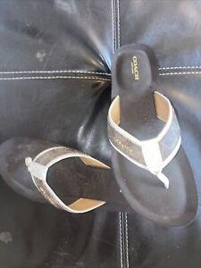 Coach Brown Wedge Flip Flop Thong Sandals Jolene Size 8.5 B
