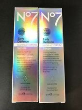 Boots No7 Early Defence Glow Activating Serum 2x 30ml Sensitive Skin 60ml Total