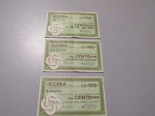LOTTO N. 3 MINIASSEGNI - ICCREA lire 100