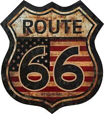 """1 - 5"""" Route 66 American Flag Decal Sticker Junk Yard Rat Rod US Highway 825"""