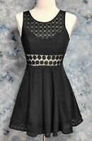 Free People Womens 0 Black Floral Lace Crochet Sleeveless Fit N Flare Dress