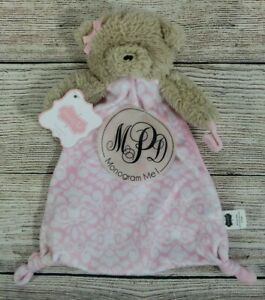 Mud Pie Pink White Teddy Bear Baby Security Blanket Lovey Pacifier Holder