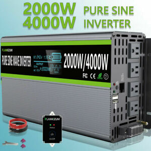 Pure Sine Wave Power Inverter 24V DC To 110V-120V AC 2000W/4000W RV Converter US