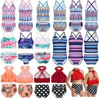 Children Girls Tankini Swimsuit Swimwear Bathing Suit Set Tops+Bottoms Beachwear