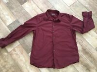 Old Navy Mens Button Down Dress Shirt Size XL Collared Wine Red