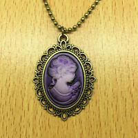 1pcs Fashion Retro Beauty Head Goddess Cameo Charm Alloy Lady Necklace purple @1
