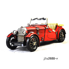 Handmade 1949 Red MG TC MAROON Car 1:12 Tinplate Antique Style Metal Model