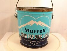 VINTAGE MORRELL SNOW CAP PURE LARD TIN BUCKET 4LBS WIRE HANDLE NO LID CAN TINS