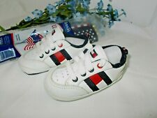 TOMMY HILFIGER Baby Infant Shoes Red White With Flag Logo. 3M
