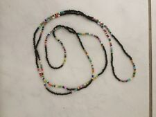 "Rainbow/black Bead Long 58"" Necklace Bracelet Hippie  Beach Festival Boho Love"