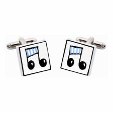 Blue Musical Notes Cufflinks by Sonia Spencer, Hand painted, RRP £20!, Composer