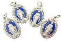 "Lot of 4 Catholic Gift 1"" Silver Blue Enamel Miraculous Medal Devotional Pendant"
