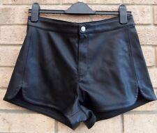 H&M BLACK FAUX LEATHER BIKER RUNNER COOL  HOT PANTS SHORTS 12 M