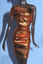 DRESS ONLY ~ LOOK ~ BARBIE DOLL CITY SHINE BRONZE EVENING GOWN MODEL MUSE