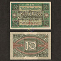 GERMANY 10 Mark 1920 P-67 UNC Uncirculated