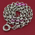 Real Solid Womens Girls 18k White Gold GF Necklace Belcher Chain Bolt Ring Clasp