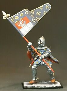 Knight with flag tin soldier 54 mm 1/32 scale HAND PAINTED