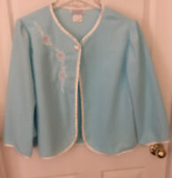 Vintage Studio 36  Bed Jacket Nursing Lounge Blue & White Trim Size Large