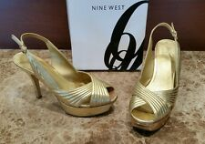 Women's NINE WEST Gold Leather Stilettos Heels Pumps Wedges Shoes Sz 7.5 $109