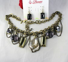 Gorgeous Premier Designs Rhinestone Necklace Earrings Set  CAT RESCUE