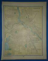 Vintage 1895 MINNEAPOLIS Map Old Antique Original Atlas Map