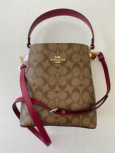 100% Authentic Coach Small Town Bucket Bag Brown Logo Crossbody Handbag NWT