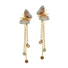 Stylish Elegant Drop Dangle Crystal Jewellery Butterfly 14K Gold Plated Earrings