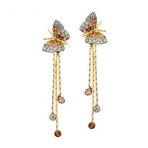 Gold Color Butterfly Earrings Drop Dangle Rhinestones Small Earrings Jewellery
