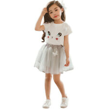Printed Fluffy Skirt Girls Sets - White (XYG060636WI)