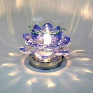 Blue Glass Lotus Flower Candle Wax Warmer : Essential Oil Warmer & Wax Warmer