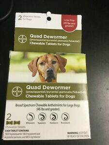 Bayer Expert Care Quad Dewormer Puppies & Large Dogs over 45 lbs 2 tablets #3429