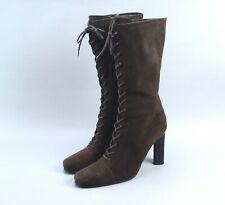 $895 PRADA Brown Suede Lace Ankle Boots 38.5 US8.5 Made in Italy