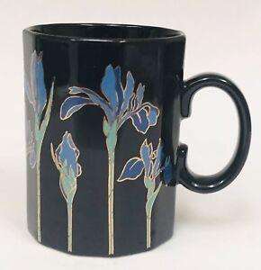 Otagiri BLUE IRIS Black Blue Green Metallic Gold 12 Sided Coffee Mug Cup Japan